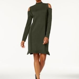 Style & Co Cold Shoulder Sweater Dress Olive Green